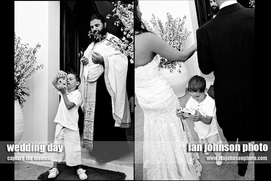 santorini children wedding priest