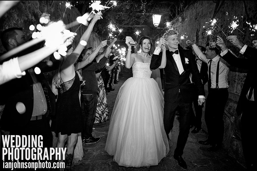 sparklers at Italian wedding