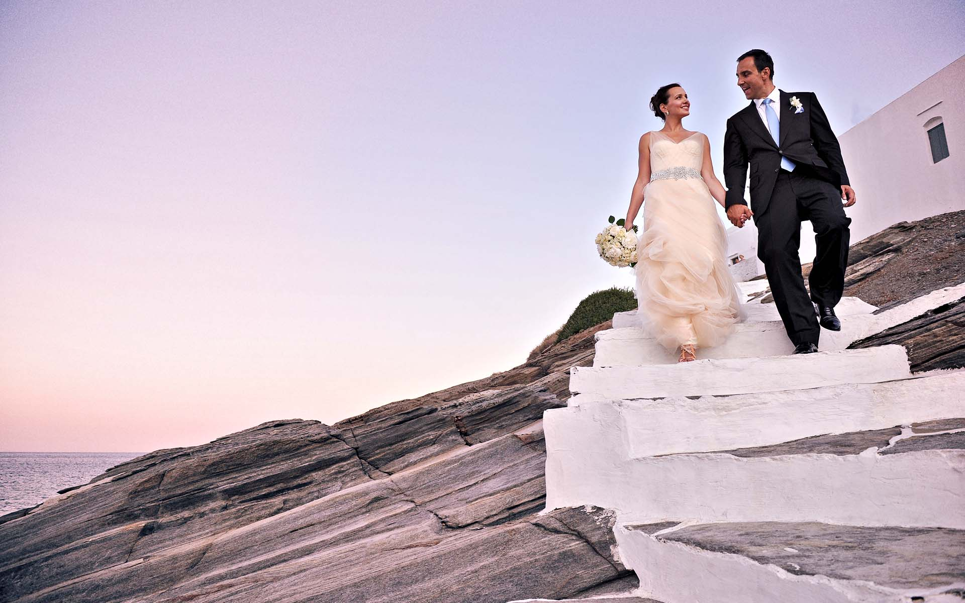 santorini wedding couple at church