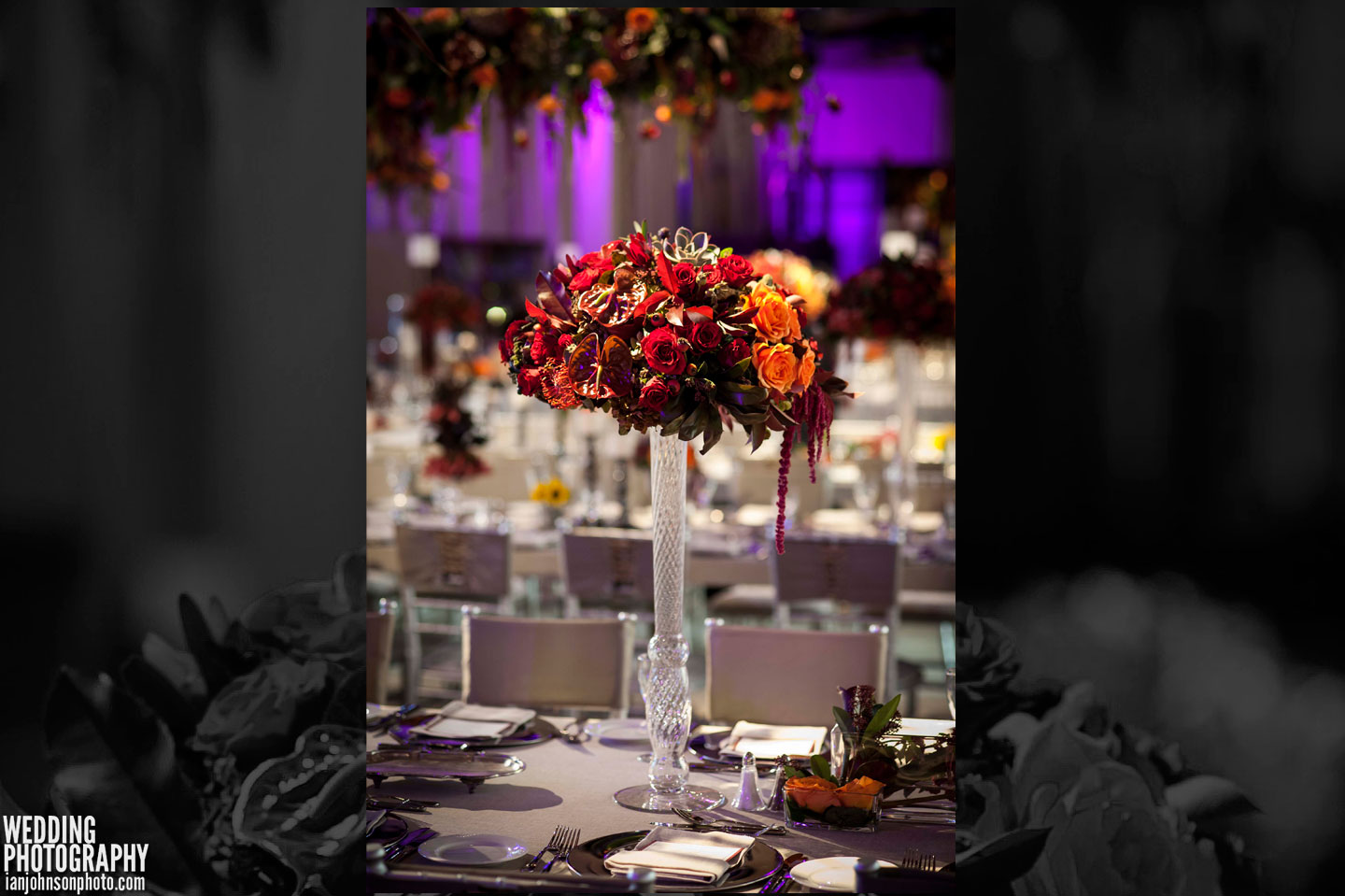 red orange wedding flowers